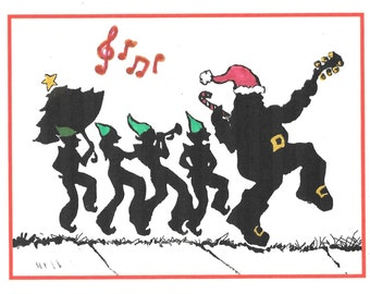 Santa's Second Line New Orleans Christmas Card