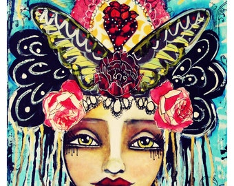 Soul of a Gypsy, Heart of a Warrior Fine Art Print of Mixed Media painting