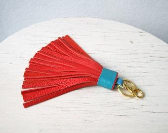 Leather Tassel Keychain Large Tassel Red Bag Charm