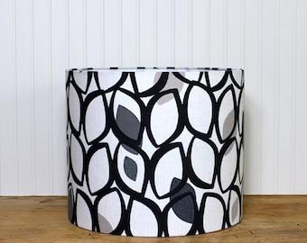 Retro Drum Shade - Black Eyelet Lamp Shade - Drum Shade - Lamp Shade - Black and Grey - Modern Drum Shade - European Fabric - Table Shade