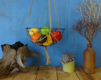 Large Handmade Hanging Wire Basket Bowl in Macrame Hanger