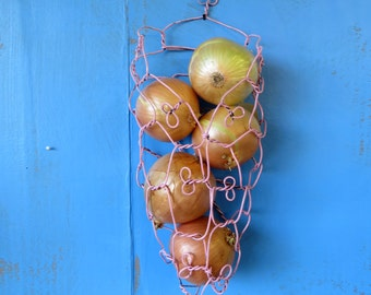 Wall Hanging Onion Basket in Distressed Pink