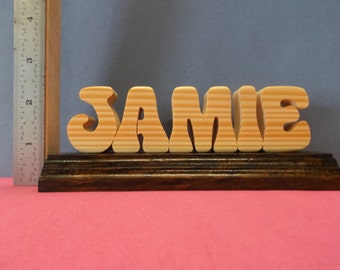 "all wood single name on base ""free shipping"""