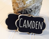 6 Reusable Name Tags Chalkboard Name Tags, Magnet Name Tags or Pin Backing, Perfect for Office Parties, Meeting,Corporate Events