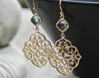 Gold Chandelier Earrings - Aqua Crystal Glass Jewel, Bohemian Jewelry, Wedding, Boho Chic, Gift for Her