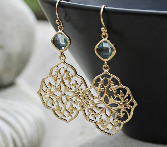 Gold Chandelier Earrings - Aqua Crystal Glass Jewel, Bohemian Jewelry, Wedding, Boho Chic, Gift for Her
