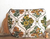 Tapestry vintage fabric daisy print oversize clutch purse