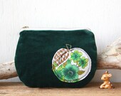 Forest green velvet vintage floral apple coin purse