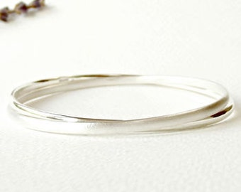 Simple Silver Handmade Eternity Bangle - silver bangle-simple bangle-eternity bangle-linked bangle-silversynergy-uk