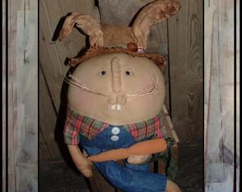 Primitive folk art Humpty Dumpty Bunny Rabbit cloth doll soft sculpted hand embroidered HAFAIR ofg faap