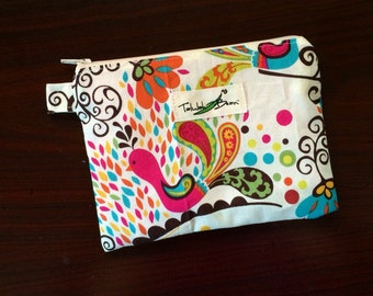 "7""x5"" Tab-Handled Wetbag ~ Perky Peacock Cotton with PUL Lining ~ by Talulah Bean"