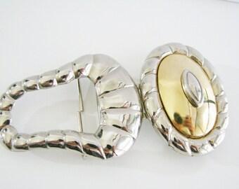 Vintage Dame Belt silver and gold Western belt buckle (R)