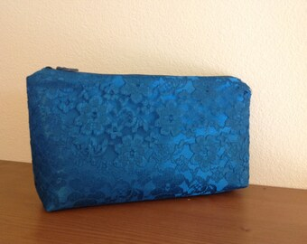 Lace clutch for Bride or Bridesmaids Gift Bag In teal blue lace over teal satin Gift for Bridesmaids- READY TO SHIP