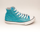 Youth | Glitter Mediterranean Blue Converse Canvas Hi Tops Sneakers Tennis Shoes
