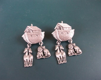 Vintage Signed JJ Noah's Ark Pierced Earrings With Dangling Animals