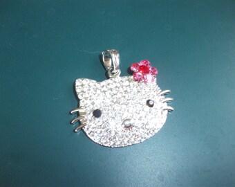 Vintage Hello Kitty Rhinestone Pendant