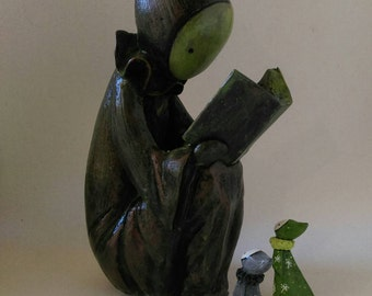 RESERVED for NinjaPirate  - Layaway for -Poppet Reader Sculpture or Bookend Antique Copper Finish