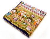 """20"""" Minky Baby Lovey Blanket, Animals Blue Purple Brown  - ready to ship"""
