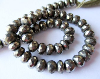 35% OFF Pyrite faceted rondelle- 6mm- 5 inch