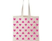 Pink Happy Hearts Cotton Tote // Market Tote // Just Dandy Studio