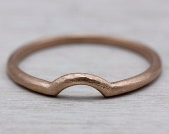 READY TO SHIP Half-Circle Contour Band with Rustic Texture in 14k Rose Gold, Size 6.25 - Stacking Band, Textured Wedding Ring