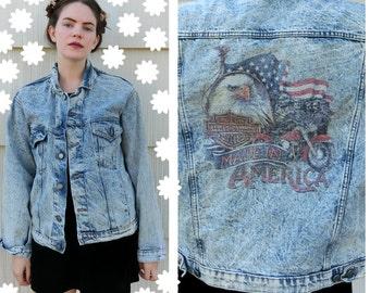 Harley Davidson acid wash denim jean jacket size large