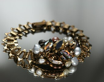 Bracelet -Gold Tone Metal, Rhinestone, FW Pearl and vintage jewelry pieces - OOAK - Hand Made
