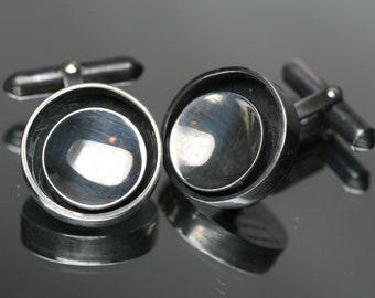 Vintage Sterling Silver Modernist Cufflinks by Rosene