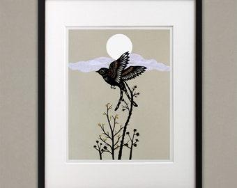 Delicate Wings Rustling - 11 x 14 inch Cut Paper Art Print