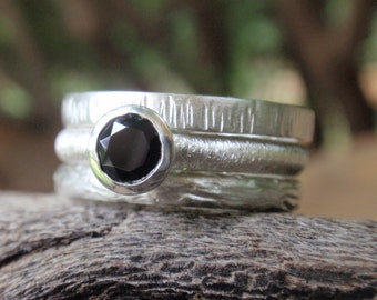 black spinel gemstone ring engagement set of three stacking rings sterling silver black wedding ring band gothic ring gift for her handmade