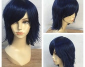 Ready to Ship Midnight Blue Choppy Layered Shake and Go Costume Wig