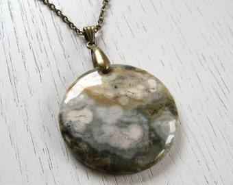 SALE - Bronze, Cream and Green Round Shaped Ocean Jasper Pendant Necklace