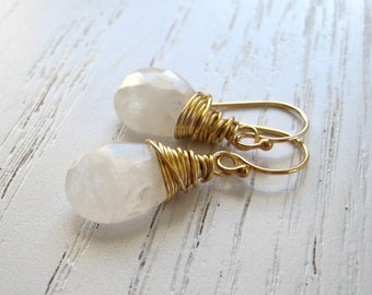 Rainbow Moonstones Pear Shaped Bali Vermeil Earrings