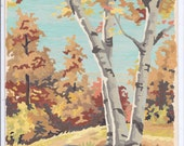 Small Paint by Number Picture Fall Scene with BIRCHES 9 7/8 x 8 inches