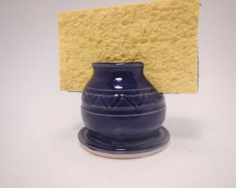 Cobalt Blue Ceramic Sponge Holder/Business card Caddy/Cell phone rest