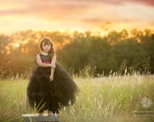 NEW! The Juliet Dress in Black with Cranberry Sash- Flower Girl Tutu Dress