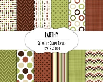 Earthy Digital Scrapbook Paper 12x12 Pack - Set of 12 - Polka Dots, Chevron, Stripes - Instant Download - Item# 8272