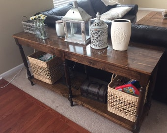 Custom wood console table with turned legs