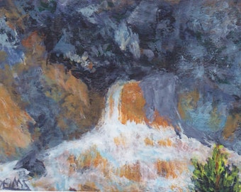 ACEO Yellowstone Waterfall Rocks Cascading Waters Original Collectible Painting  This is No 4 in my ACEO Yellowstone series Gray Brown Black