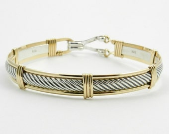 Custom Made For YOU!  Sterling Silver 14k Gold Filled Twist Cable Patterned Wire Wrapped Bracelet Made In Alaska