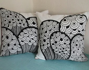 White and Black Graphic Pillow Cover 18x18