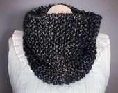 Knit Cowl in Charcoal Black Soft Acrylic Cowl Handmade Cowl Fall Fashion Winter Fashion Knit Scarf Bohemian Fashion Gift for Her Black Scarf