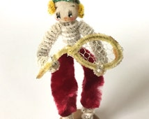 Vintage Figurine Tennis Player Chenille Pipe Cleaner Sports Figure Doll