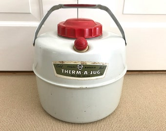 Vintage Thermos Camping Fishing Gear Therm a Jug Midcentury Camper Trailer Water Coffee Server Bakelite