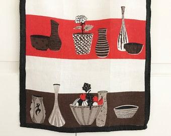 Mid Century Modern, Tea Towel, Cool Ceramic Vases, Bowls, Linen Textile, Wall Hanging