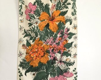 Vintage Tea Towel Flowers Zuzek Key West Banquet Lilly Pulitzer Floral Wall Art