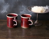 Vintage Hand Made Mugs Burgundy Pottery Coffee or Tea From Nowvintage on Etsy