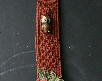 Vintage 70s Macrame Weaving Bohemian Decor With Pocket and Ceramic Owl Vintage From Nowvintage on Etsy