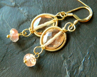 Georgina Earrings- 14k gold wire wrapped and coiled AAA Oregon Sunstone faceted briolette drop dangle earrings