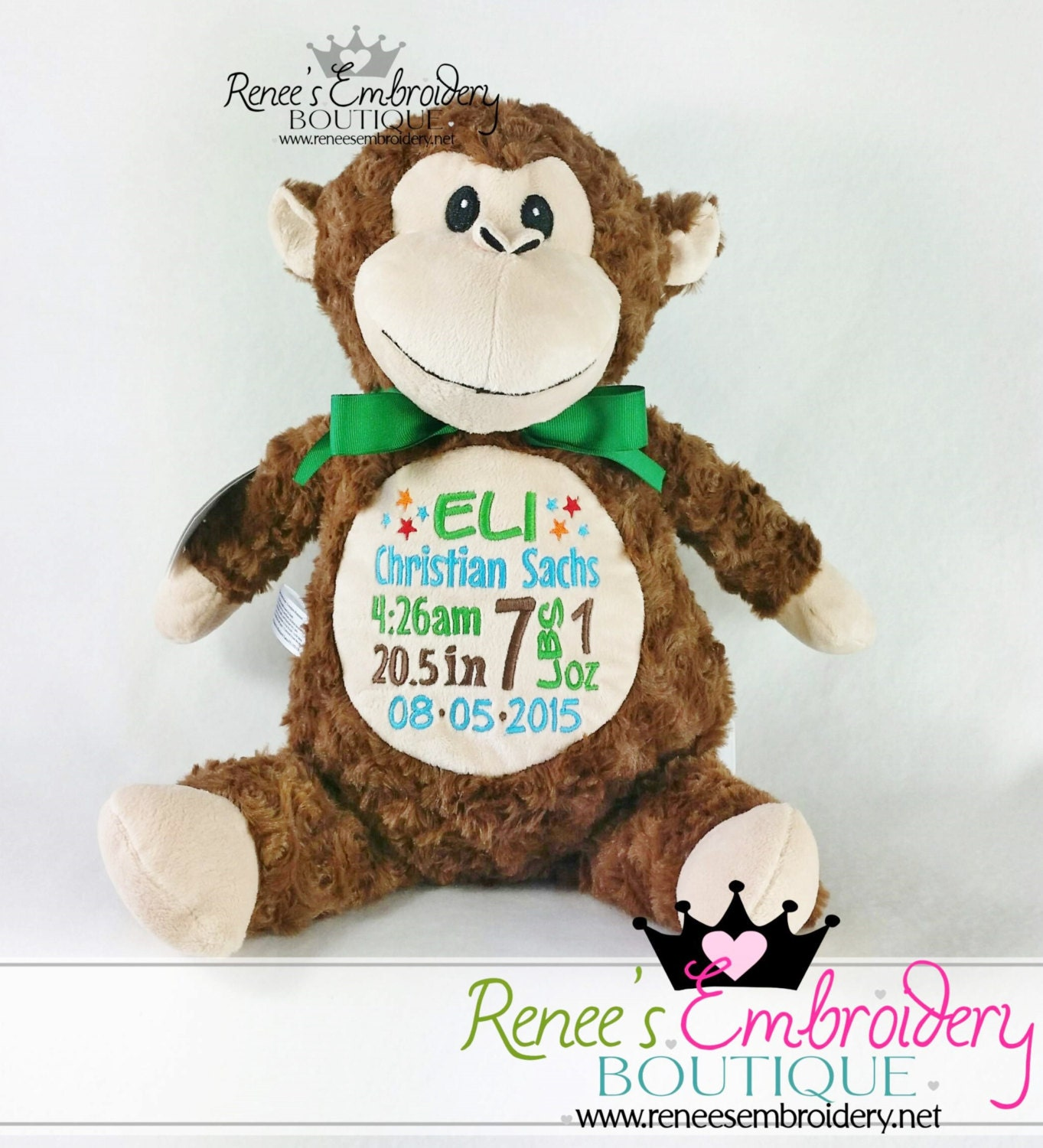 Personalized baby gift cubbies stuffed animal birth